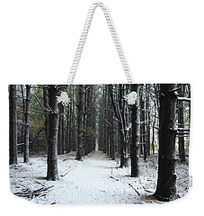 Pines In Snow Weekender Tote Bag