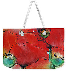 Weekender Tote Bag featuring the painting Poppies I by Jani Freimann