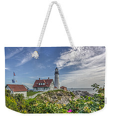 Weekender Tote Bag featuring the photograph Portland Headlight by Jane Luxton