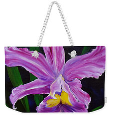 Weekender Tote Bag featuring the painting Purple Orchid by Jenny Lee