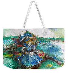 Weekender Tote Bag featuring the painting Roses For My Mother by Laurie L