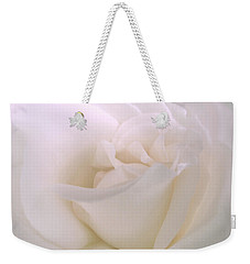 Softness Of A White Rose Flower Weekender Tote Bag by Jennie Marie Schell