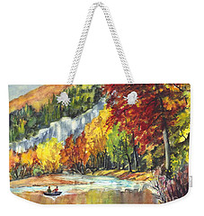Weekender Tote Bag featuring the painting Cruising Up The Delaware River by Carol Wisniewski