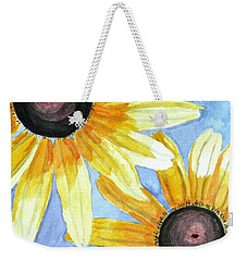 Weekender Tote Bag featuring the painting Summer Susans by Angela Davies