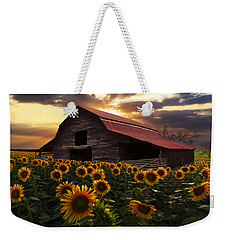 Sunflower Farm Weekender Tote Bag by Debra and Dave Vanderlaan