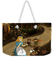 Weekender Tote Bag featuring the painting Tammy Meets Cedric The Mongoose by Reynold Jay