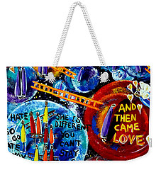 Weekender Tote Bag featuring the painting Then Came Love by Jackie Carpenter