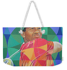Weekender Tote Bag featuring the drawing Tiger Woods by Joshua Morton