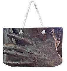 Weekender Tote Bag featuring the photograph Tin Man In Times Square by Lilliana Mendez