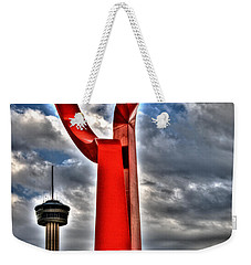 Weekender Tote Bag featuring the sculpture Torch Of Friendship by Deborah Klubertanz