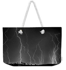 Weekender Tote Bag featuring the photograph Tucson City Lightning by J L Woody Wooden