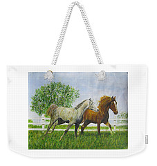 Two Horses Running By White Picket Fence Weekender Tote Bag