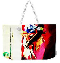 Weekender Tote Bag featuring the painting Ugunda Fish Lady by Vannetta Ferguson
