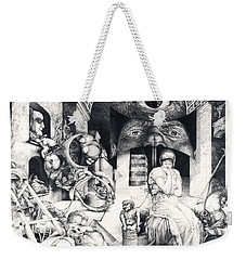 Weekender Tote Bag featuring the drawing Vindobona Altarpiece IIi - Snakes And Ladders by Otto Rapp