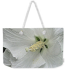 Weekender Tote Bag featuring the photograph White Hibiscus by Nadalyn Larsen