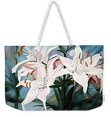 White Lilies Weekender Tote Bag by Laurie Rohner