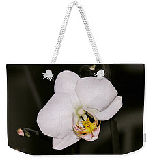 Weekender Tote Bag featuring the photograph White Orchid by Sherman Perry