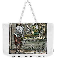 Weekender Tote Bag featuring the drawing Wiredrawer, 1568 by Granger