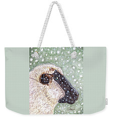 Weekender Tote Bag featuring the painting Wishing Ewe A White Christmas by Angela Davies