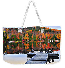 Wooden Dock On Autumn Lake Weekender Tote Bag