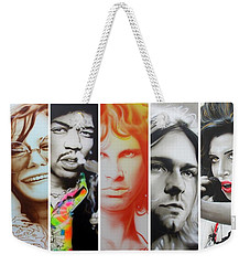 Jimi Hendrix, Kurt Cobain, And Amy Winehouse Collage - '27 Eternal' Weekender Tote Bag by Christian Chapman Art