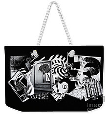 Weekender Tote Bag featuring the mixed media 2d Elements In Black And White by Xueling Zou