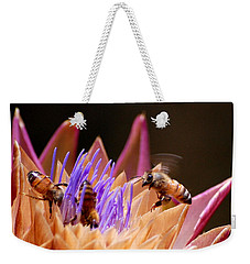 Weekender Tote Bag featuring the photograph Bees In The Artichoke by AJ  Schibig