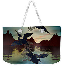 3 Black Herons At Sunset Weekender Tote Bag