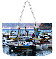 Weekender Tote Bag featuring the photograph Boats In The Harbor by Mike Ste Marie