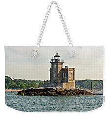 Weekender Tote Bag featuring the photograph Huntington Lighthouse by Karen Silvestri