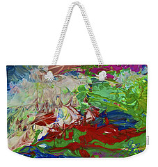 Weekender Tote Bag featuring the painting Intuitive Painting by Joan Reese