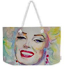 Weekender Tote Bag featuring the painting Marilyn by Laur Iduc