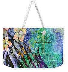 Praying Hands Flowers And Cross Weekender Tote Bag by Annie Zeno