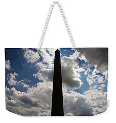 Weekender Tote Bag featuring the photograph Silhouette Of The Washington Monument by Cora Wandel