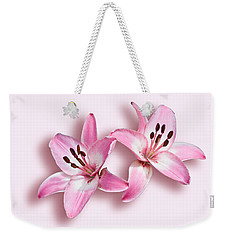 Weekender Tote Bag featuring the photograph Spray Of Pink Lilies by Jane McIlroy