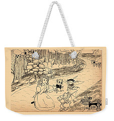 Weekender Tote Bag featuring the drawing Tammy  Meets Cedric The Mongoose by Reynold Jay