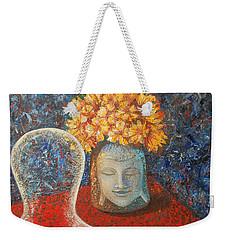 Weekender Tote Bag featuring the painting Tibetan Prayers by Mini Arora