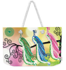 Weekender Tote Bag featuring the digital art Visionary Peacocks by Kim Prowse