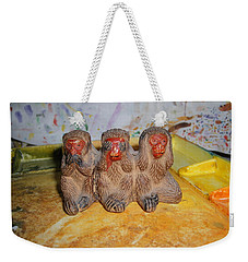 3 Wise Monkeys Watercolor Pallet Weekender Tote Bag
