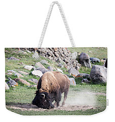 Weekender Tote Bag featuring the photograph Yellowstone Bison by Michael Chatt