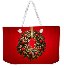 Advent Wreath Over Red Background Weekender Tote Bag