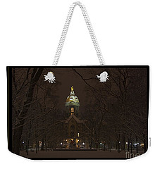 Notre Dame Golden Dome Snow Poster Weekender Tote Bag by John Stephens