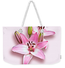 Spray Of Pink Lilies Weekender Tote Bag by Jane McIlroy