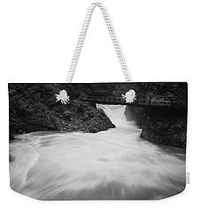 The Soteska Vintgar Gorge In Black And White Weekender Tote Bag
