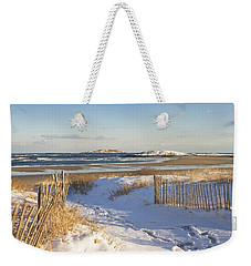 Winter At Popham Beach State Park Maine Weekender Tote Bag