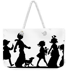 Weekender Tote Bag featuring the digital art 4th Of July Childrens Parade Panorama by Rose Santuci-Sofranko