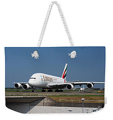 Emirates Airbus A380 Weekender Tote Bag by Paul Fearn
