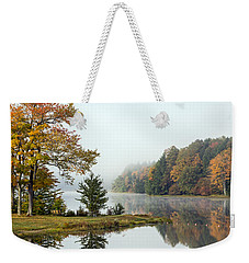 Foggy Fall Morning Weekender Tote Bag