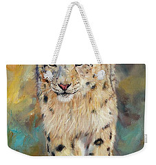 Snow Leopard Weekender Tote Bag by David Stribbling