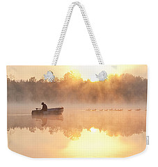 Sunrise In Fog Lake Cassidy With Fisherman In Small Fishing Boat Weekender Tote Bag